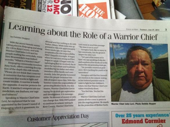 Learning about the role of a Warrior Chief - by Debbie Hopper, Focus on Kent, June 27, 2013, p.3