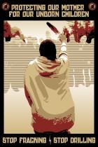 by Greg Deal - https://indiancountrytodaymedianetwork.com/2013/10/18/download-anti-fracking-protest-poster-artist-gregg-deal-151814